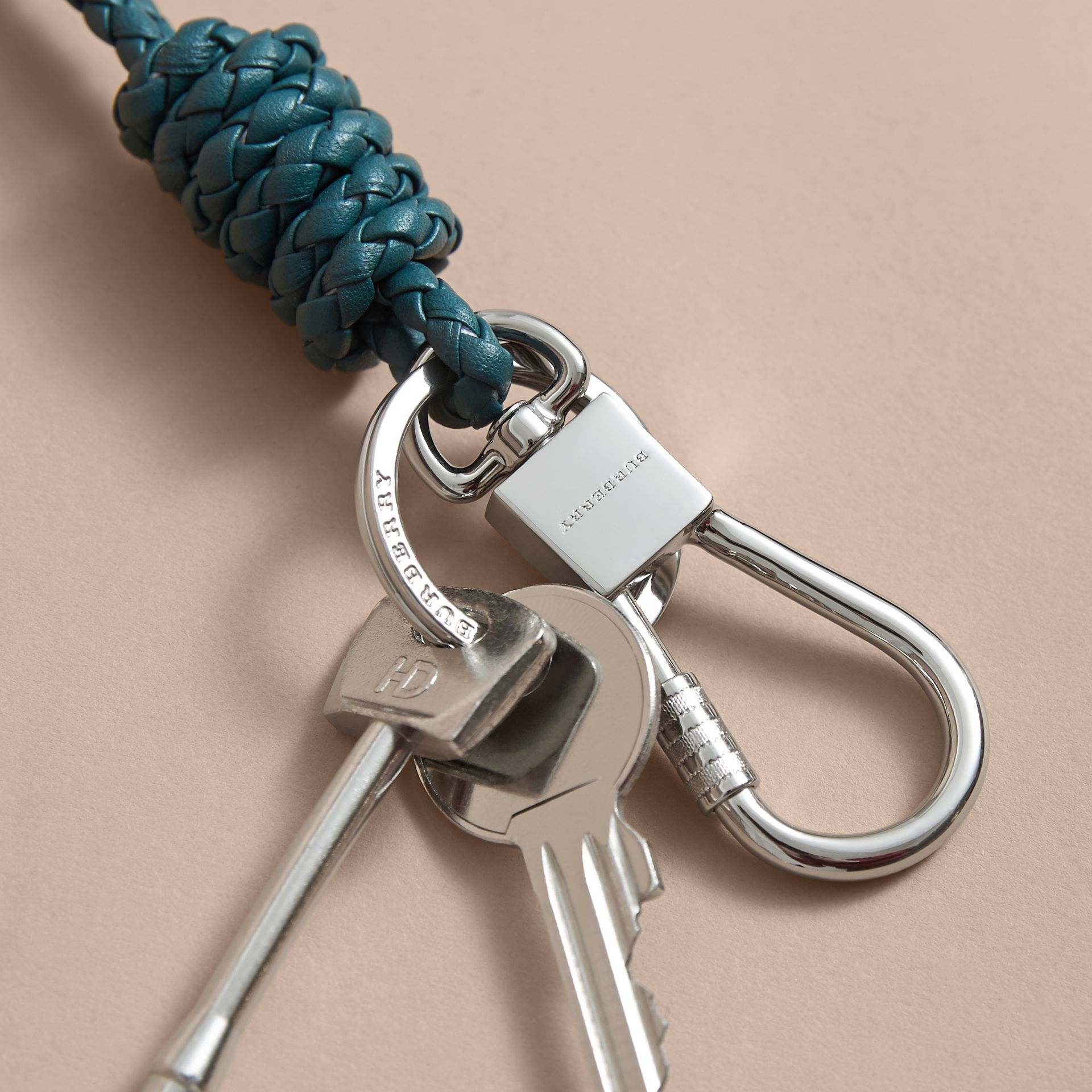 Braided Leather Knot Key Ring in Dark Teal - Men | Burberry - gallery image 3
