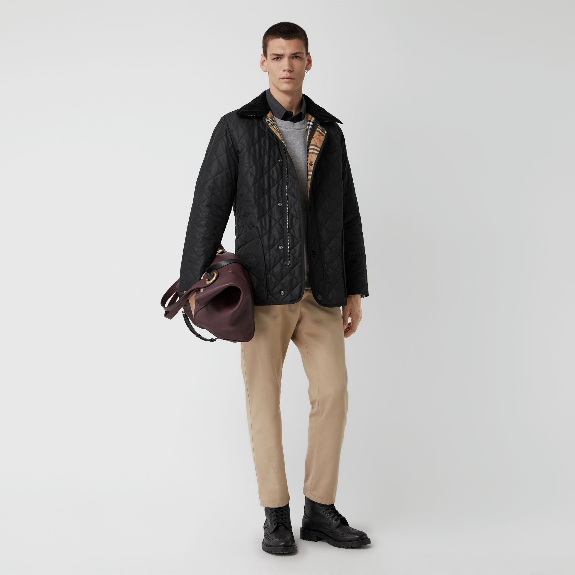 Diamond Quilted Thermoregulated Barn Jacket in Black - Men | Burberry Australia - gallery image 0