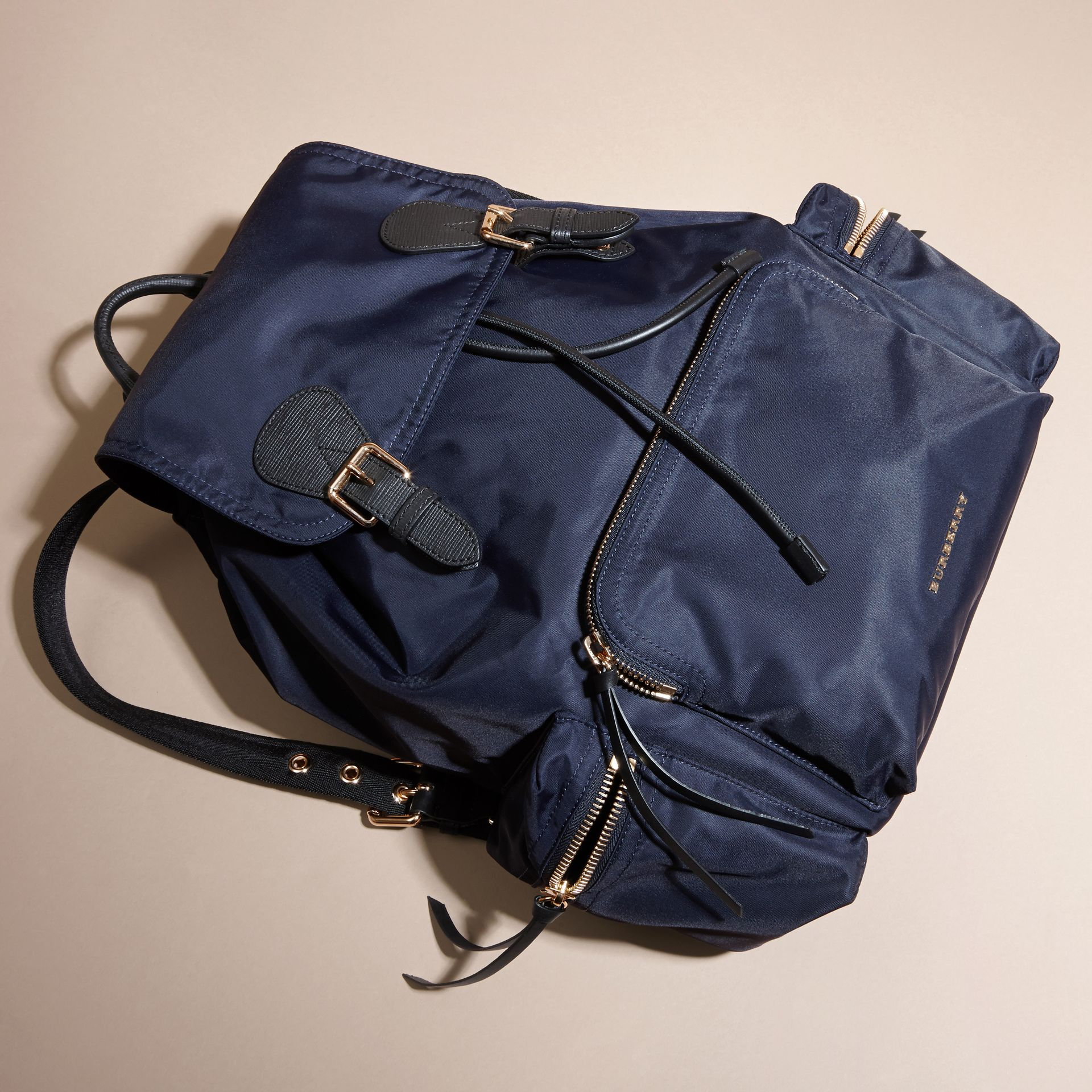 The Large Rucksack in Technical Nylon and Leather in Ink Blue - gallery image 5
