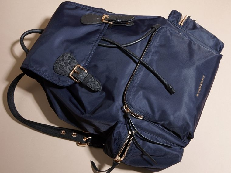 The Large Rucksack in Technical Nylon and Leather in Ink Blue - cell image 4