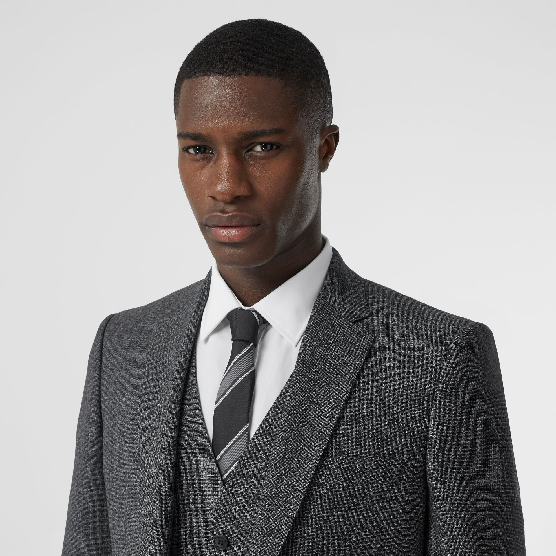 Classic Fit Melange Wool Three-piece Suit in Charcoal - Men | Burberry - gallery image 1