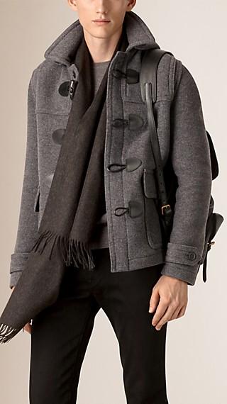 Chaqueta tipo trenca de lana con capucha de quita y pon