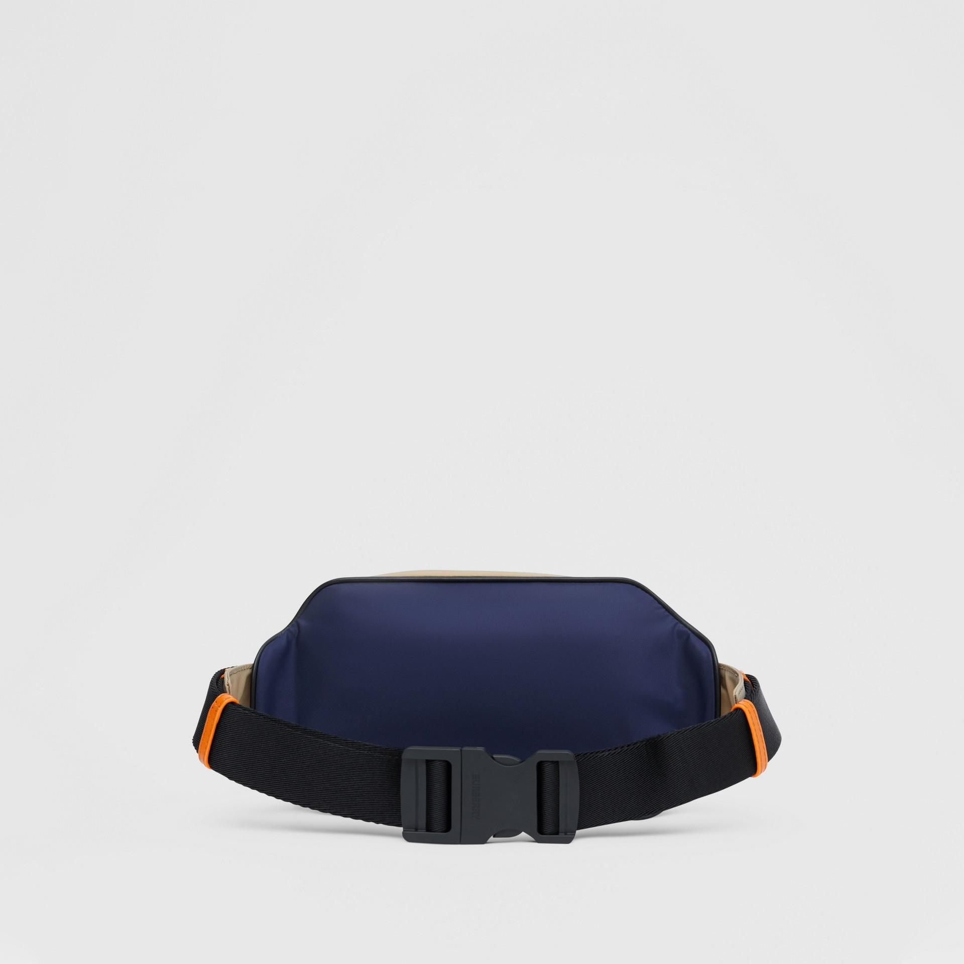 Logo Appliqué Two-tone ECONYL® Bum Bag in Regency Blue/bright Orange | Burberry United Kingdom - gallery image 9