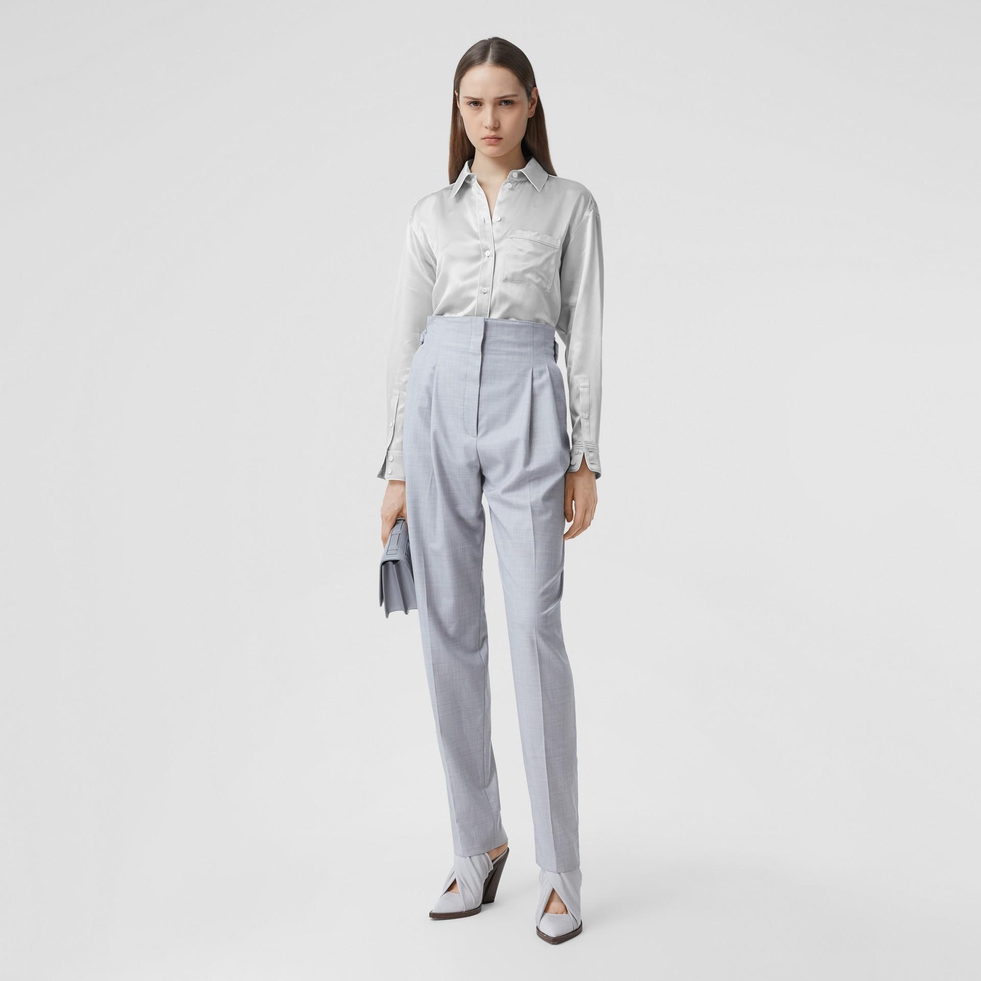 Silk Satin Shirt in Light Pebble Grey - Women | Burberry - gallery image 0
