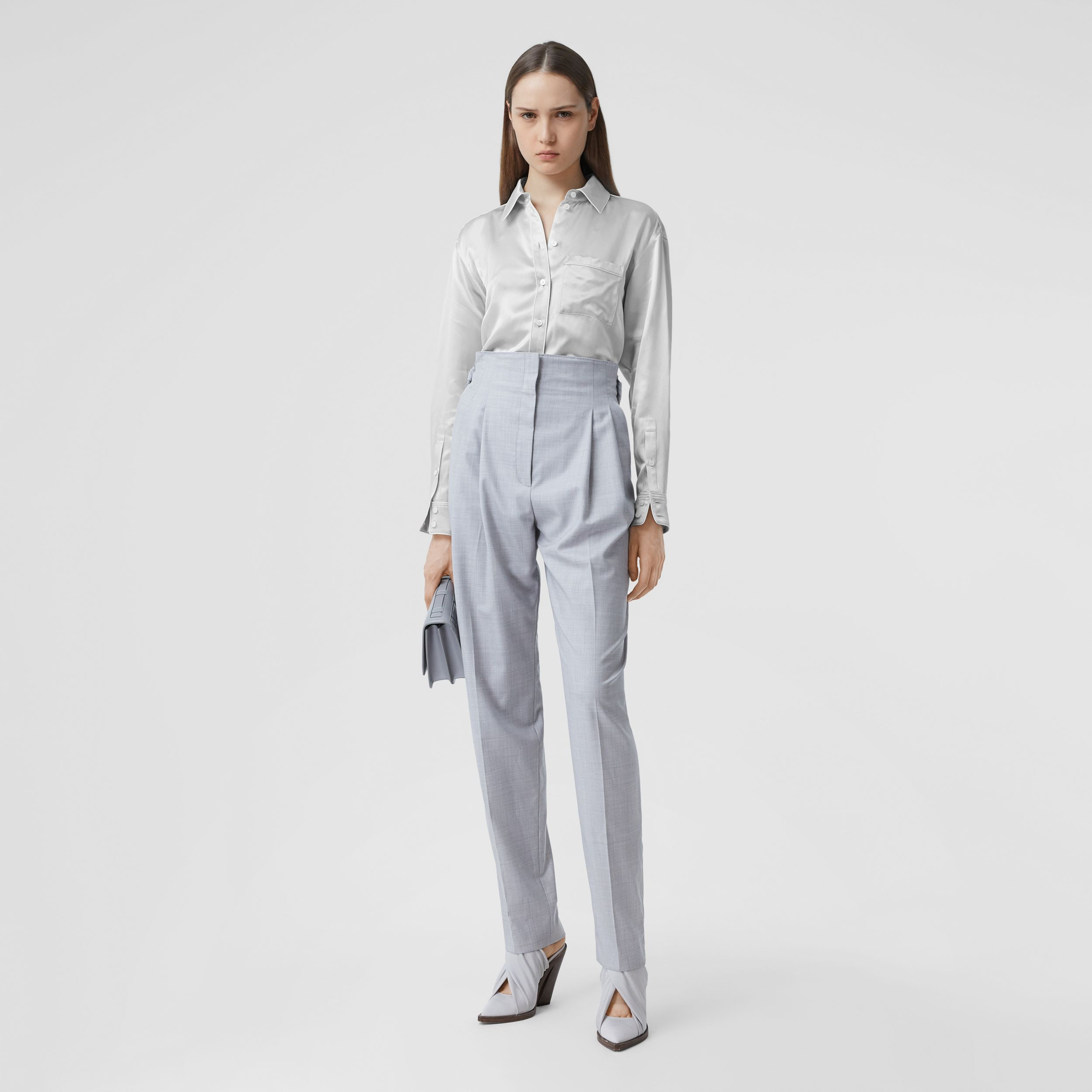 Silk Satin Shirt in Light Pebble Grey - Women | Burberry - 1