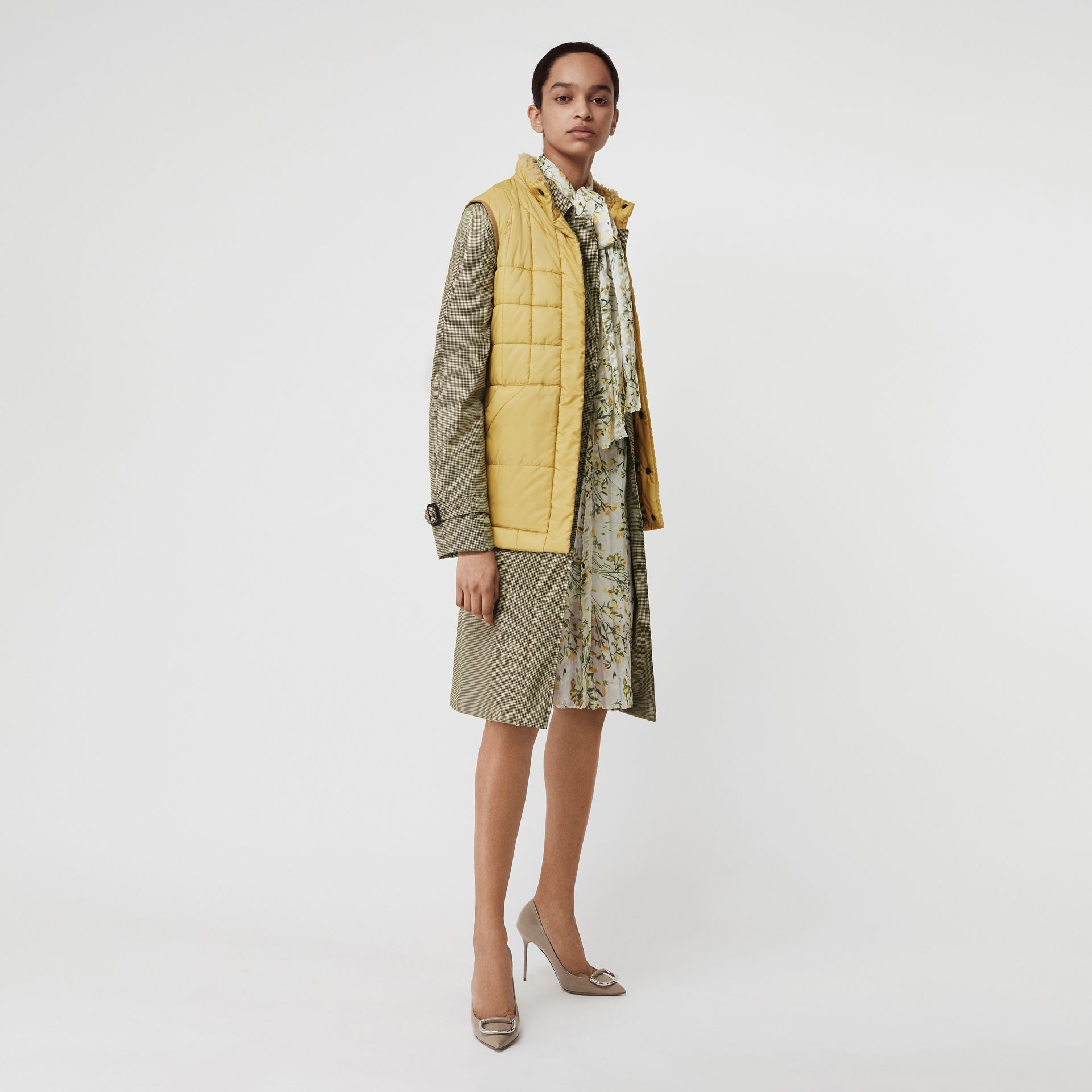 Faux Shearling Collar Lightweight Quilted Gilet in Yellow Quartz - Women | Burberry Australia - gallery image 0