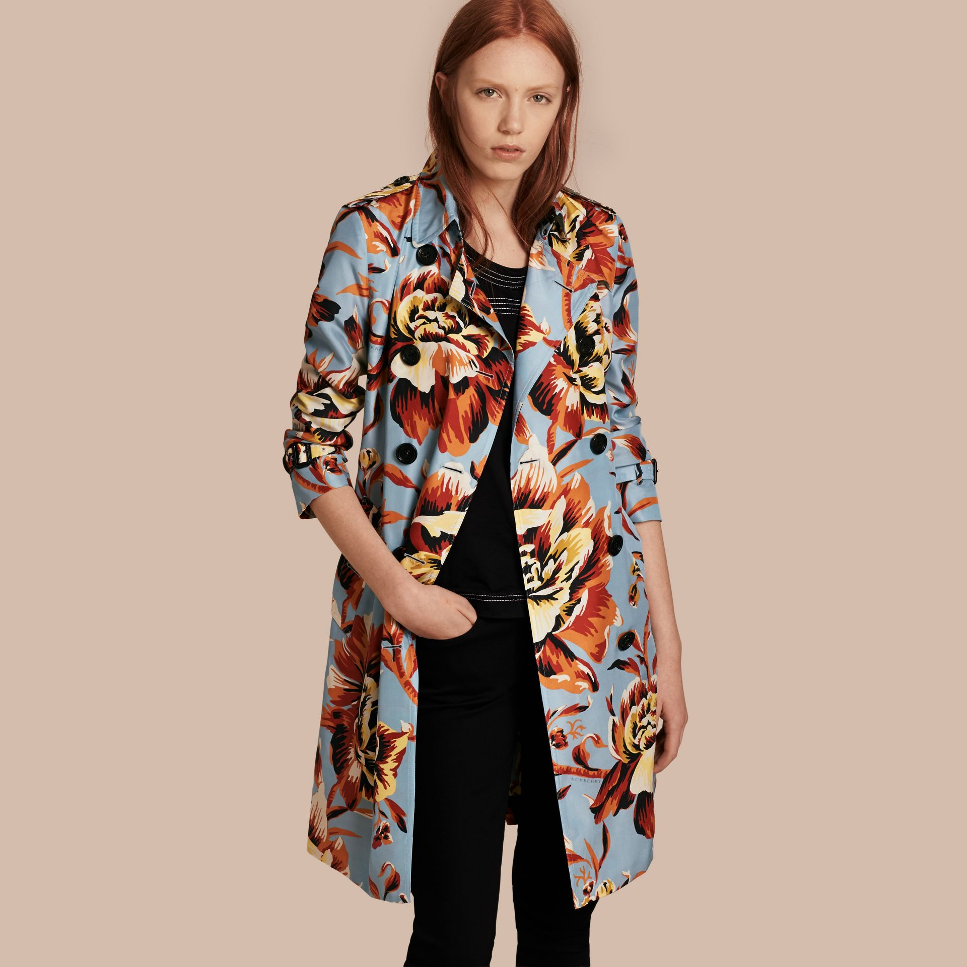 Vibrant orange Peony Rose Print Silk Trench Coat - gallery image 1
