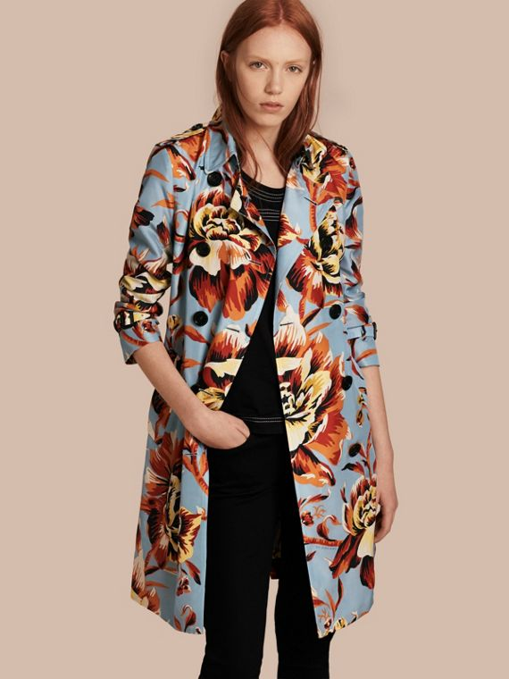 Peony Rose Print Silk Trench Coat