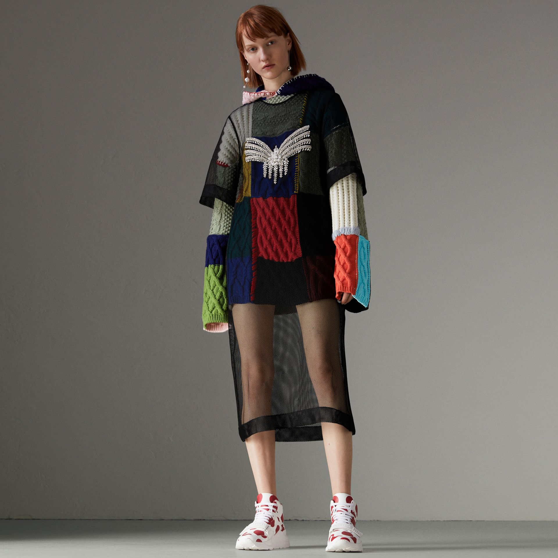 Wool and Cashmere Blend Patchwork Hoodie in Multicolour - Women | Burberry - gallery image 0