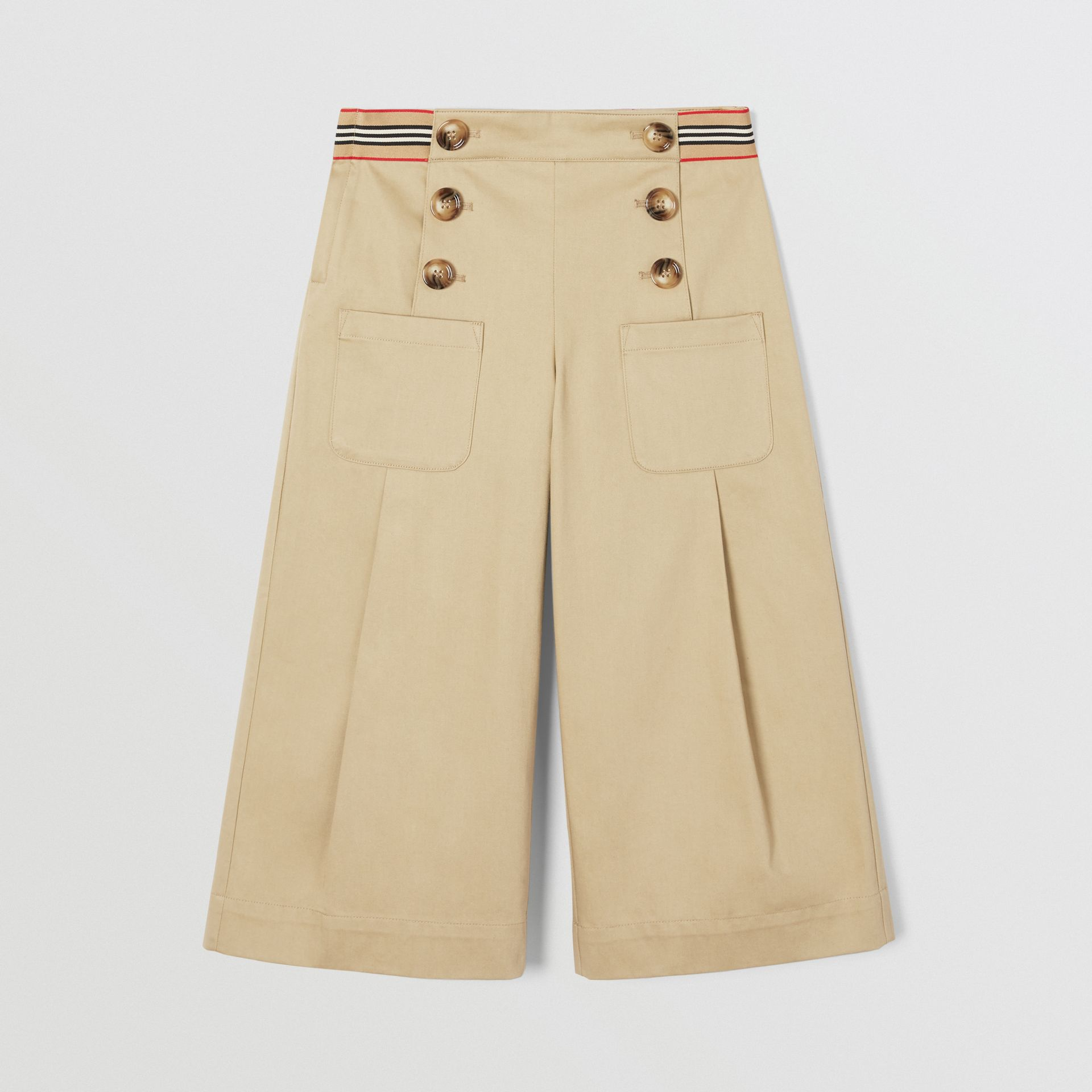 Icon Stripe Trim Cotton Sailor Trousers in Honey | Burberry United States - gallery image 0