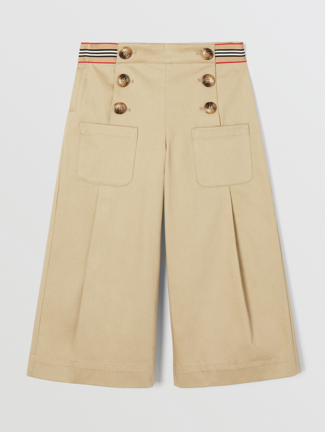 Icon Stripe Trim Cotton Sailor Trousers (Honey)