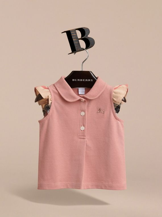 Flutter-sleeve Cotton Piqué Polo Shirt in Pale Rose | Burberry Australia - cell image 2