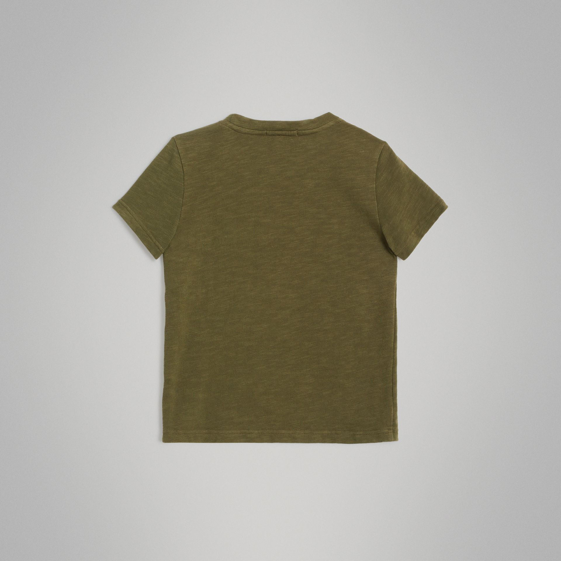 Logo Print Cotton T-shirt in Khaki | Burberry - gallery image 3