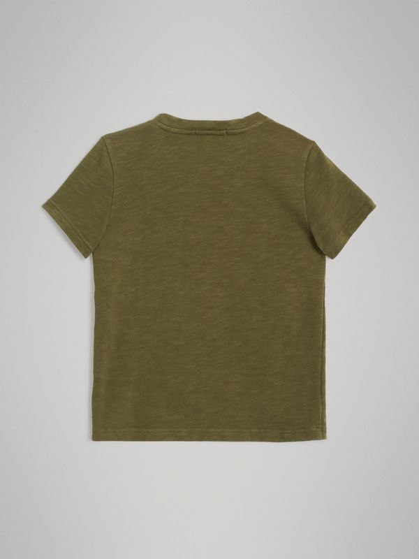 Logo Print Cotton T-shirt in Khaki | Burberry - cell image 3