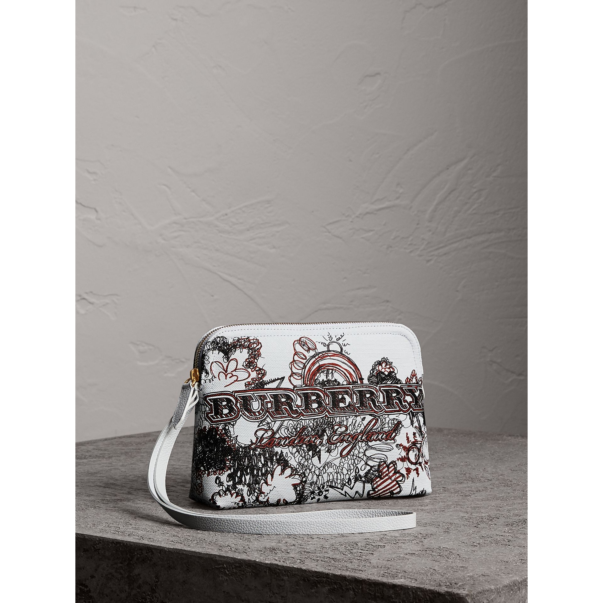 Large Zip-top Doodle Print Coated Canvas Pouch in White/black - Women | Burberry Australia - gallery image 5
