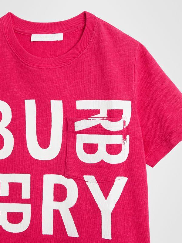 Logo Print Cotton T-shirt in Raspberry Pink | Burberry United Kingdom - cell image 3