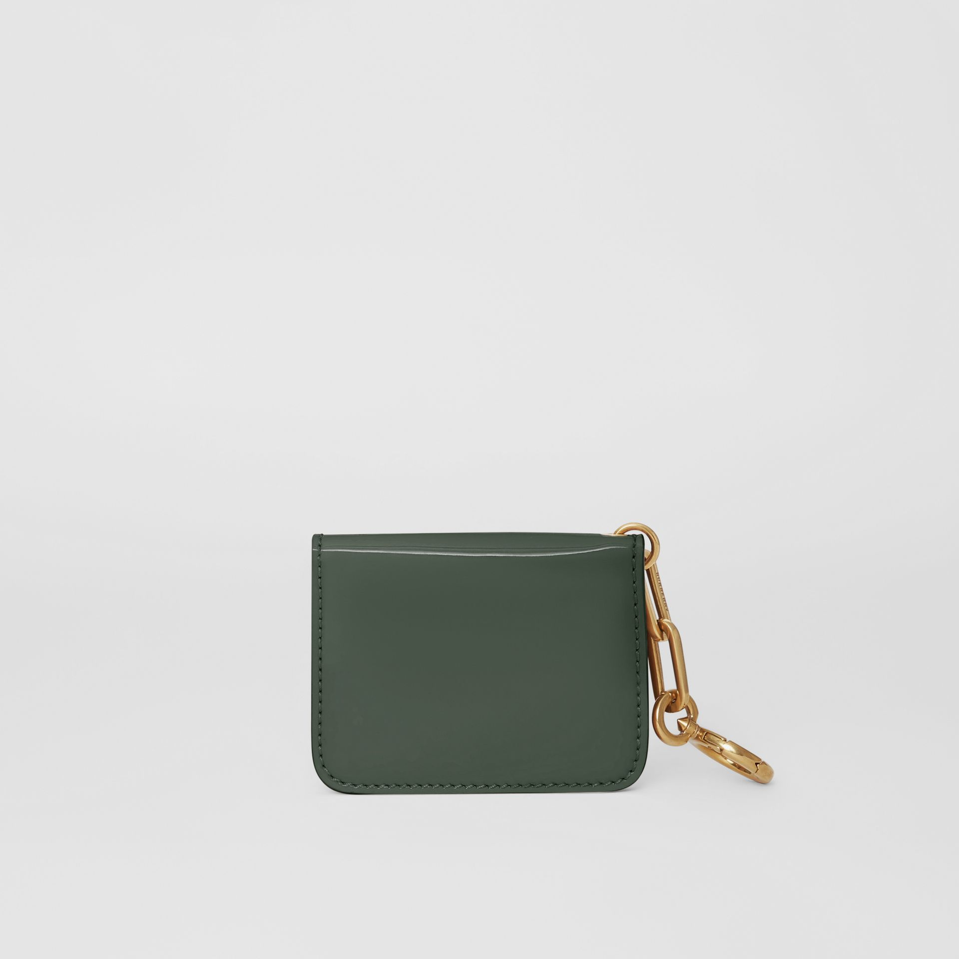 Link Detail Patent Leather ID Card Case Charm in Dark Forest Green - Women | Burberry United States - gallery image 2