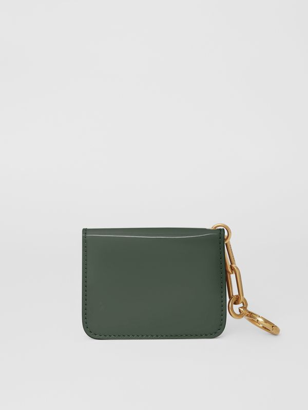 Link Detail Patent Leather ID Card Case Charm in Dark Forest Green - Women | Burberry United States - cell image 2