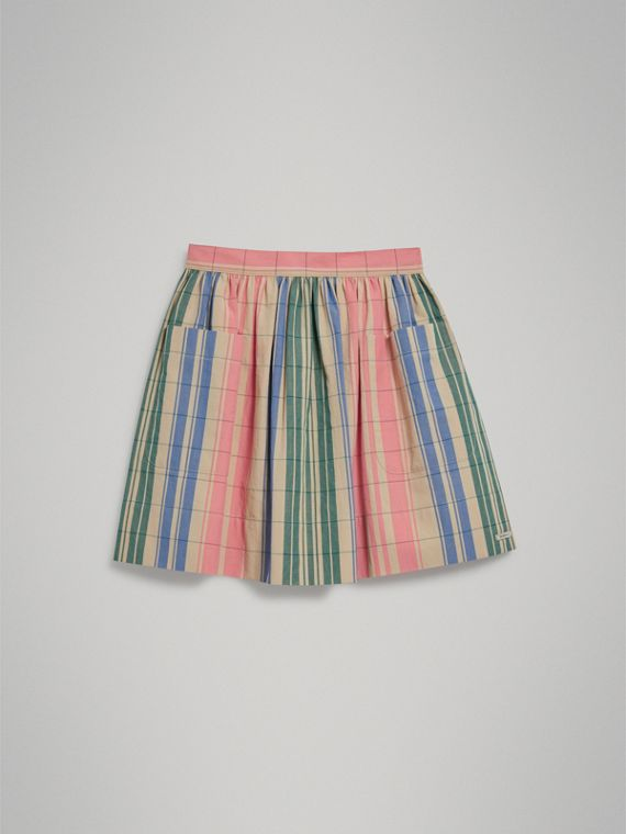 Check Gathered Cotton Skirt in Bright Coral Pink - Girl | Burberry - cell image 2