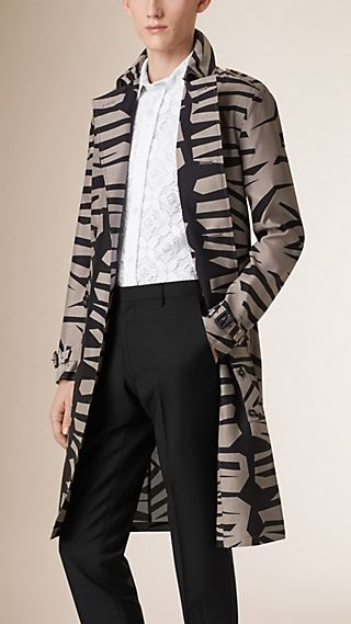 Lightweight Graphic Print Silk Wool Trench Coat