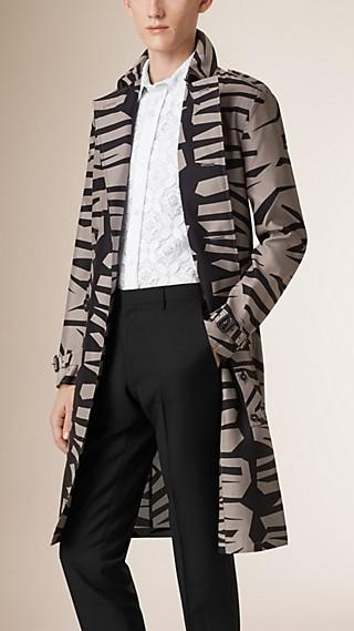 Trench-coat léger en soie et laine à imprimé graphique
