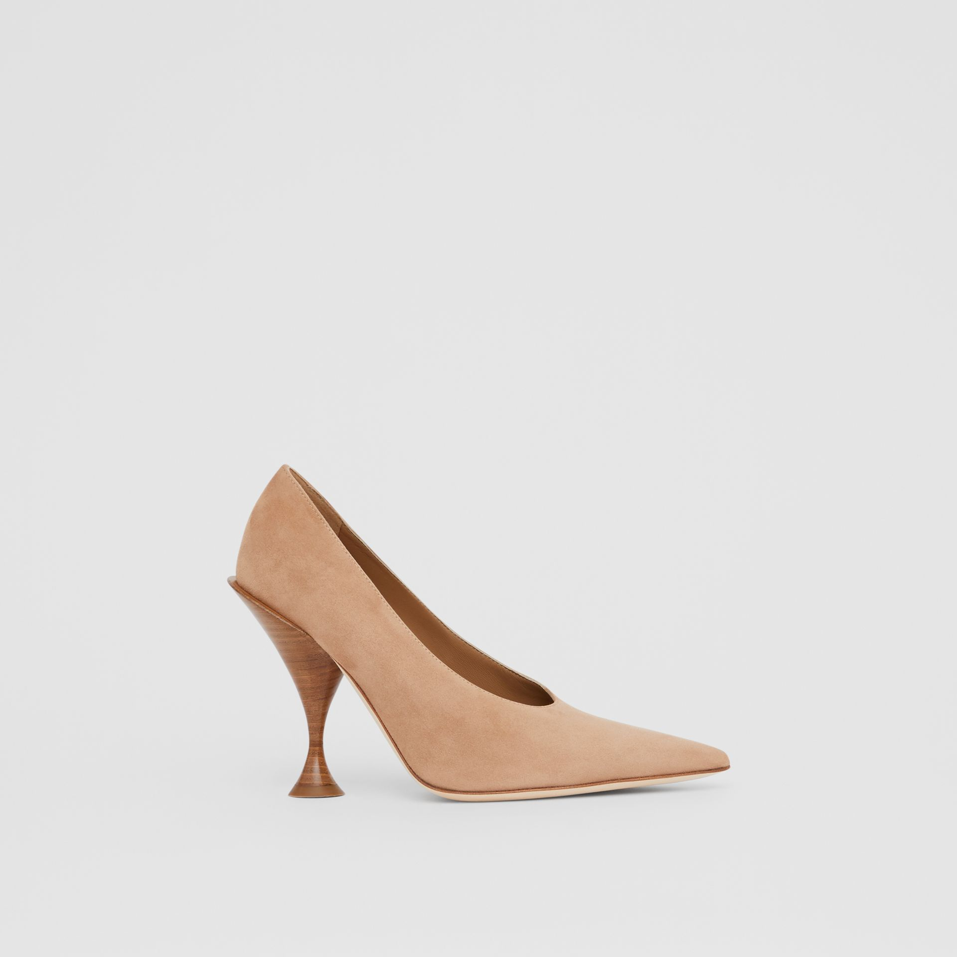 Suede Point-toe Pumps in Warm Camel - Women | Burberry - gallery image 4