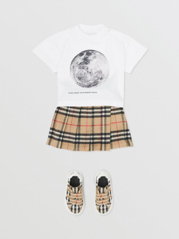 Moon Print Cotton T-shirt in White - Children | Burberry - cell image 2