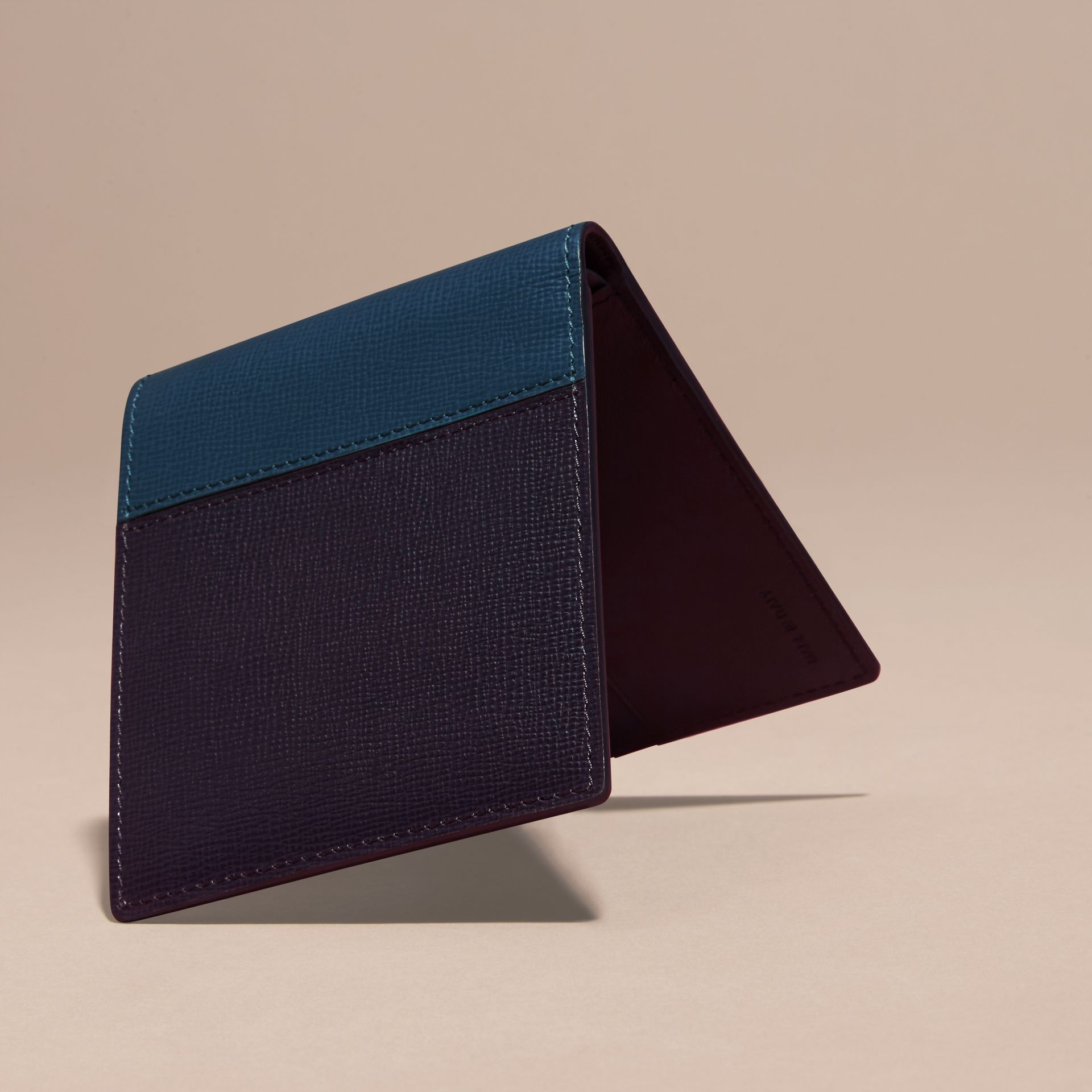 Dark navy/mineral blue Panelled London Leather Folding Wallet Dark Navy/mineral Blue - gallery image 4