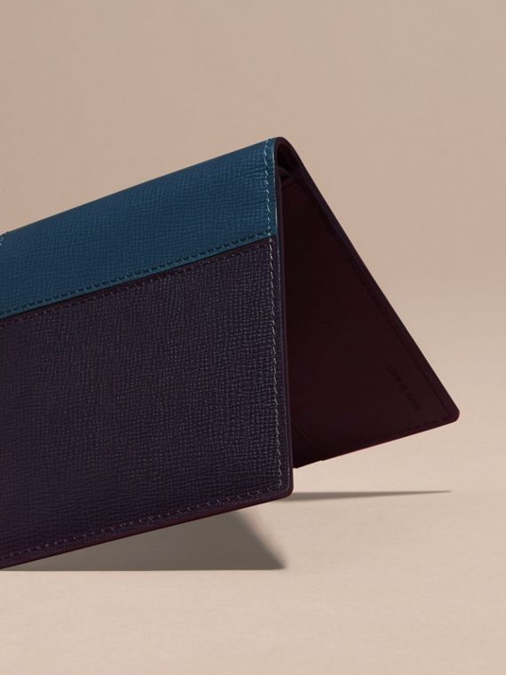 Dark navy/mineral blue Panelled London Leather Folding Wallet Dark Navy/mineral Blue - cell image 3