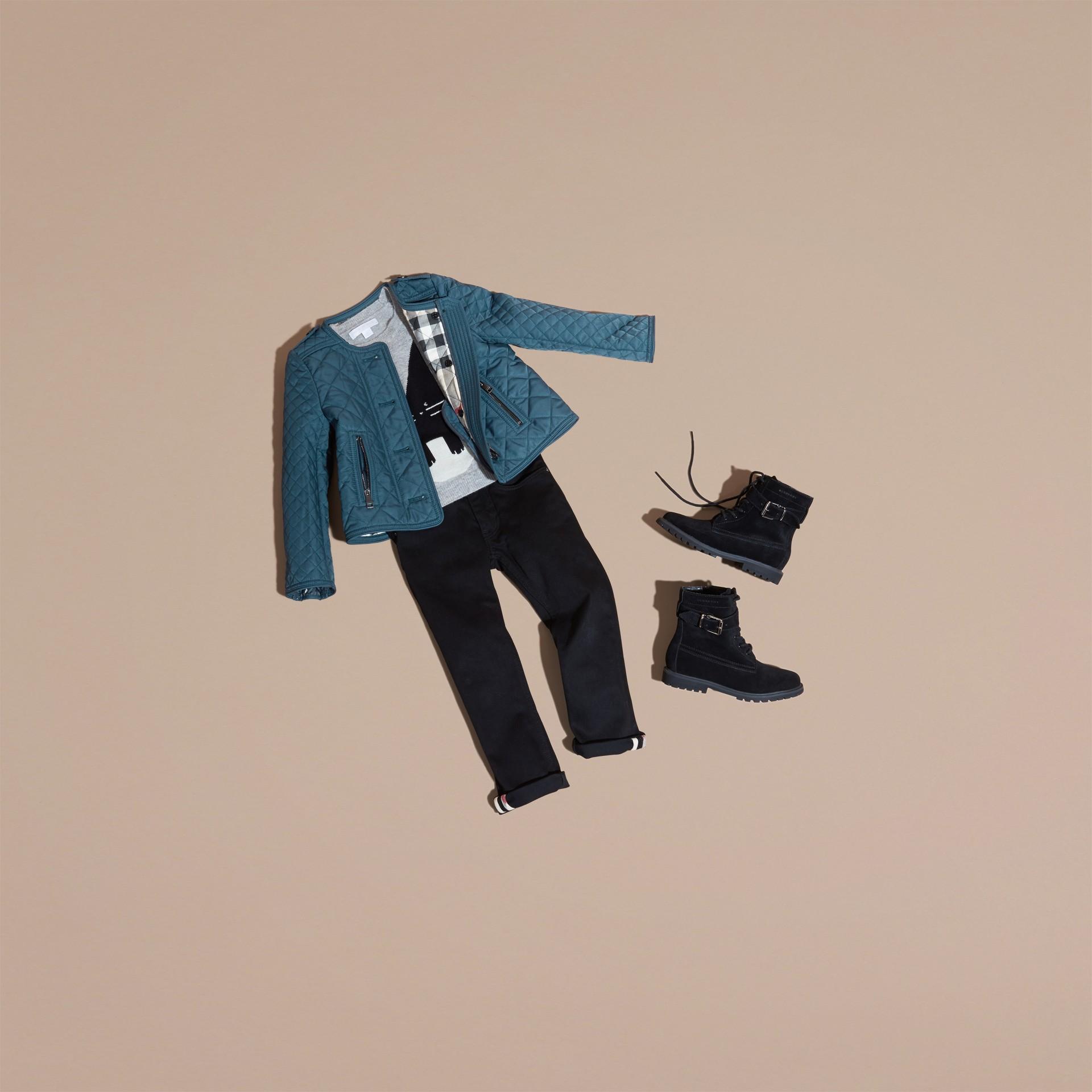 Helles indigo Kragenlose Jacke in Rautensteppung Helles Indigo - Galerie-Bild 5