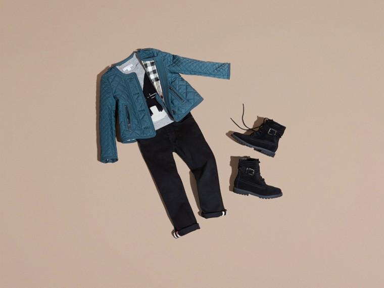淡靛青 無領菱形絎縫外套 淡靛青 - cell image 4