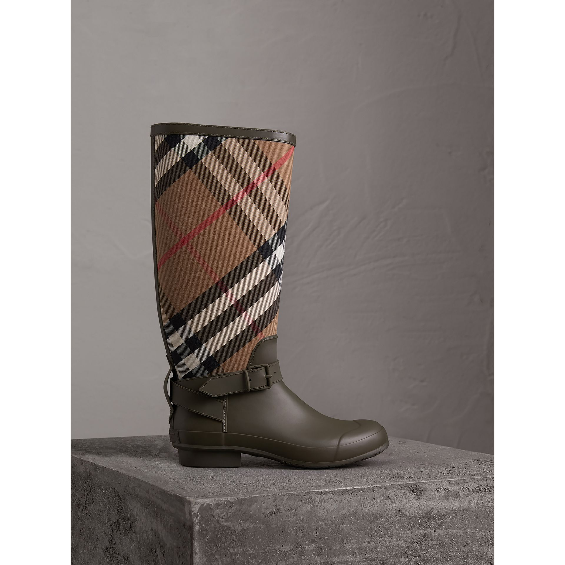 Belt Detail House Check and Rubber Rain Boots in Military Green - Men | Burberry - gallery image 0