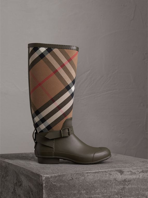 Belt Detail House Check and Rubber Rain Boots in Military Green