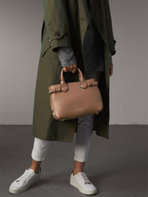 The Small Banner in Leather and House Check in Dark Sand - Women | Burberry United Kingdom - cell image 3