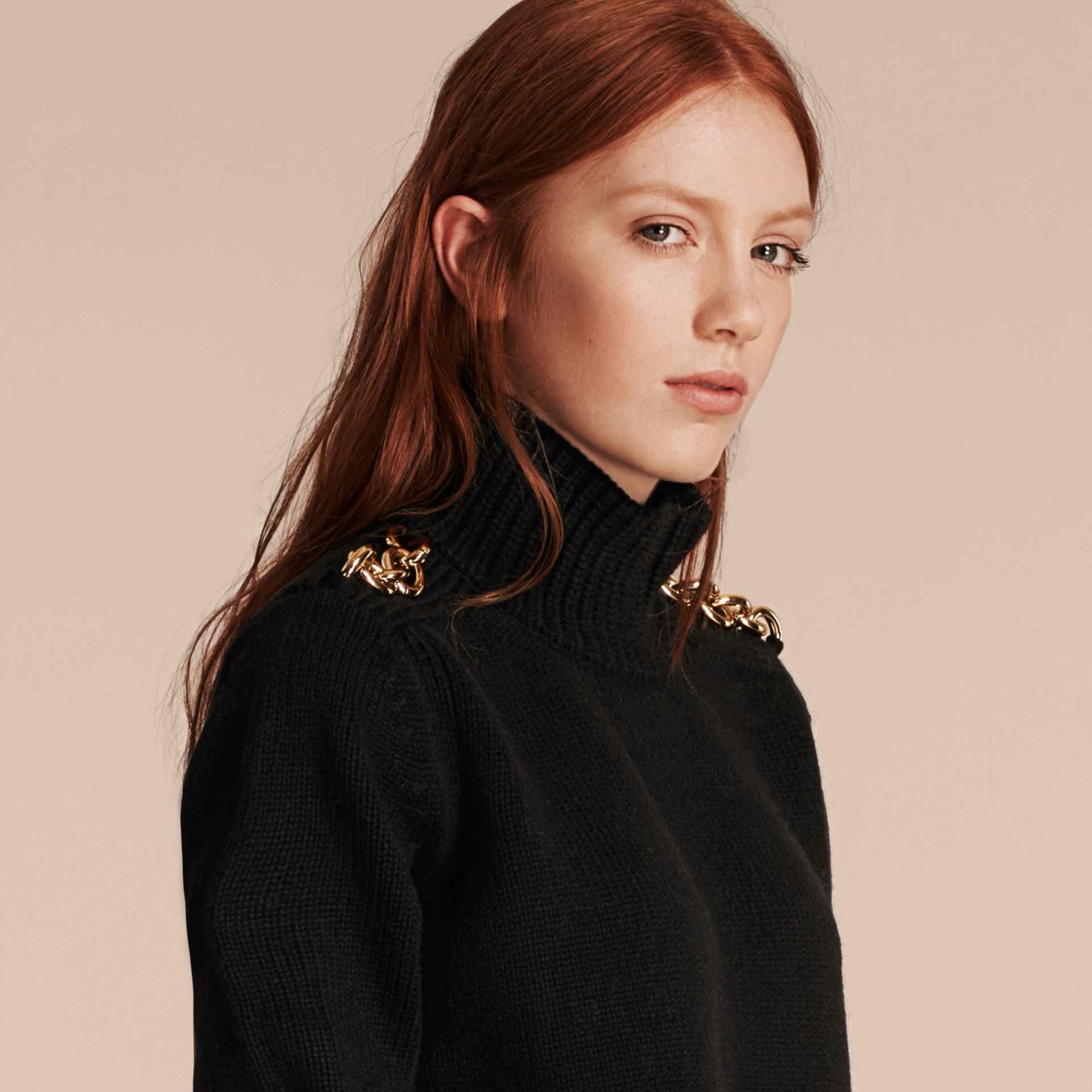 Black Regimental Detail Wool Cashmere High-neck Sweater - gallery image 5
