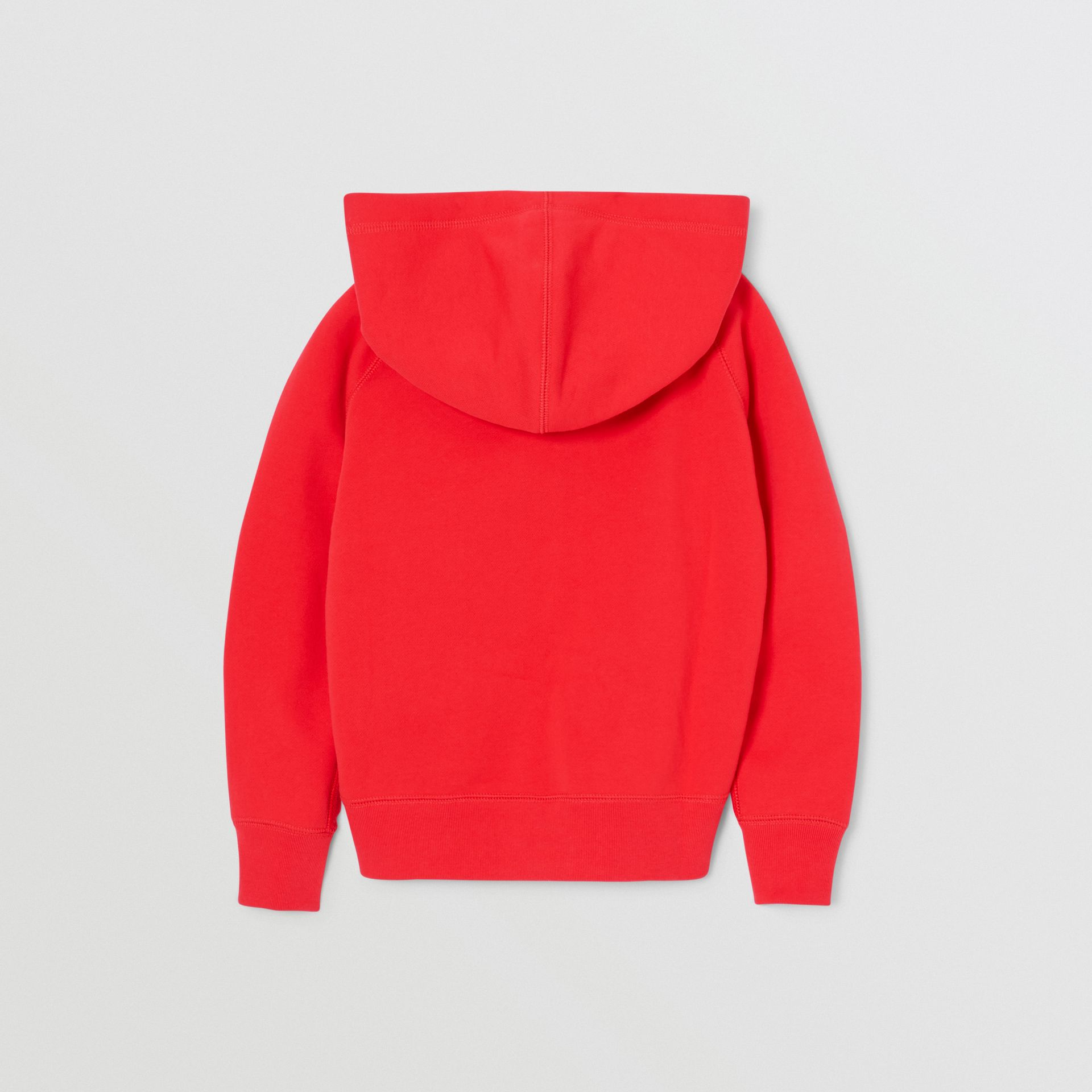Contrast Logo Graphic Cotton Hooded Top in Bright Red | Burberry - gallery image 3