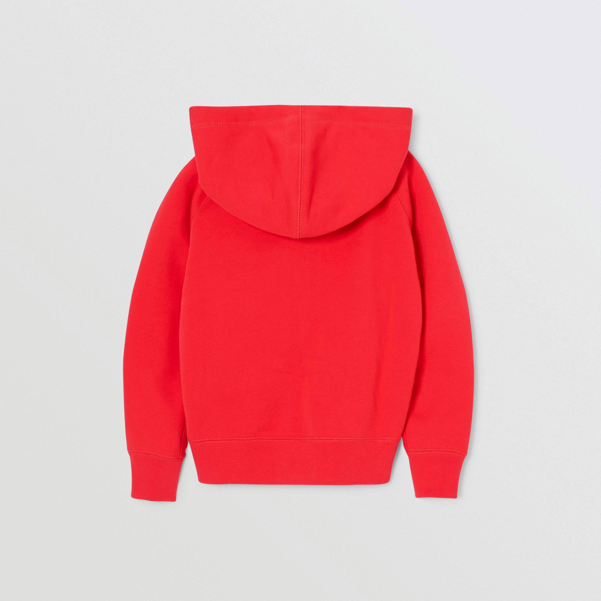 Contrast Logo Graphic Cotton Hooded Top in Bright Red | Burberry - 4