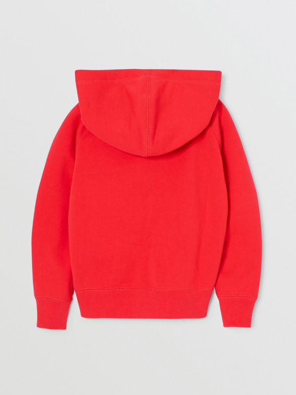 Contrast Logo Graphic Cotton Hooded Top in Bright Red | Burberry - cell image 3