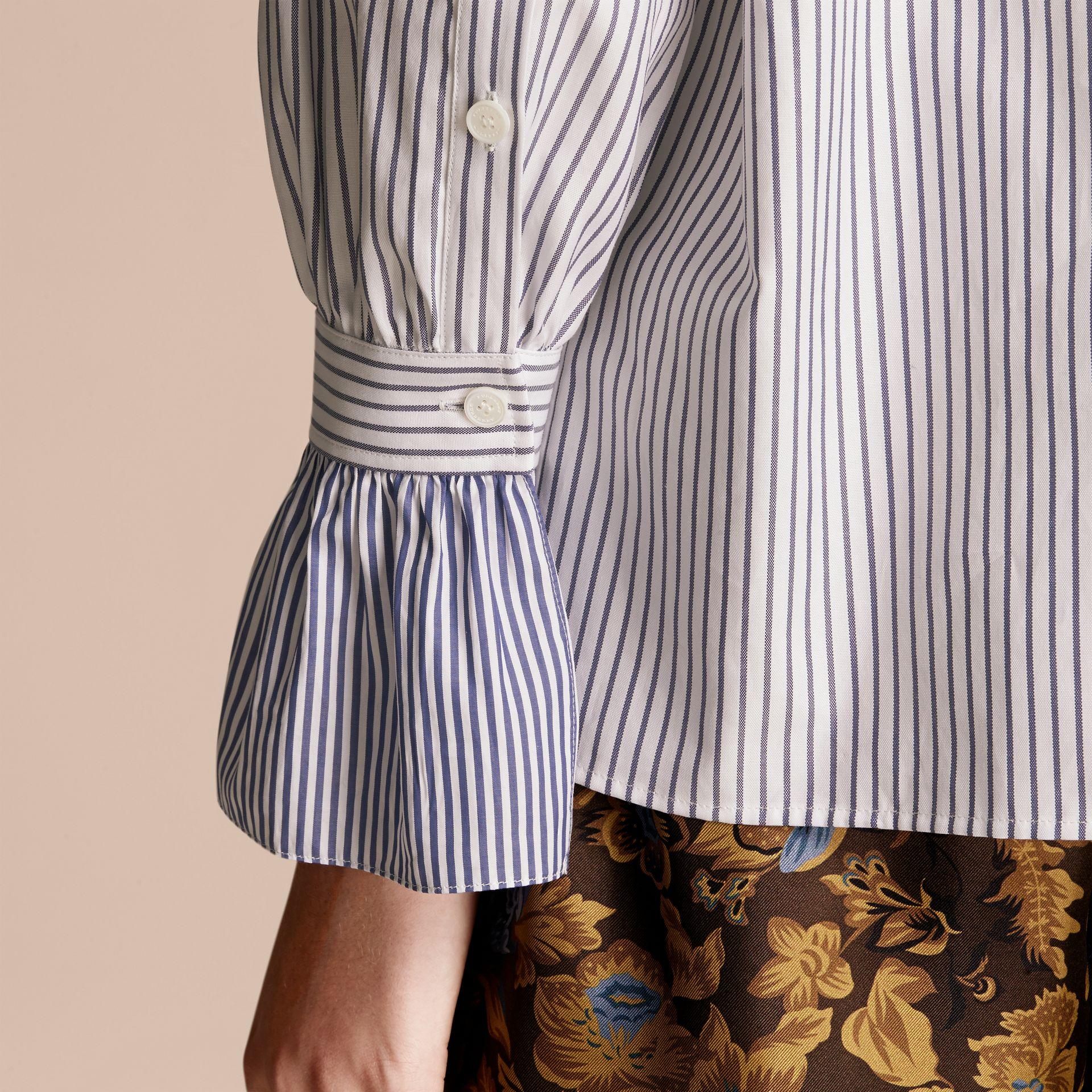 Navy Pinstriped Cotton Shirt with Ruffles - gallery image 6