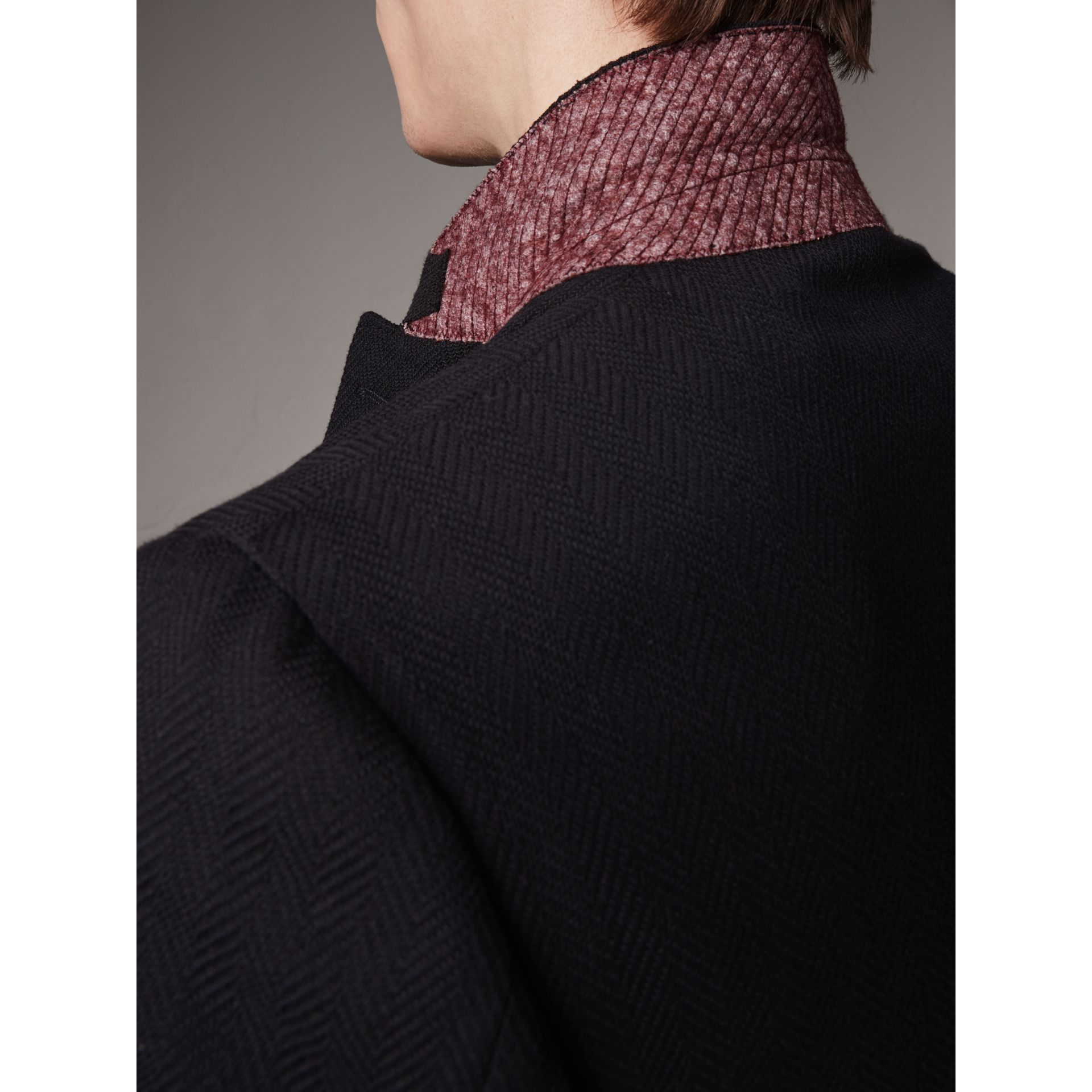 Soho Fit Herringbone Cotton Blend Jacket in Navy - Men | Burberry Singapore - gallery image 4