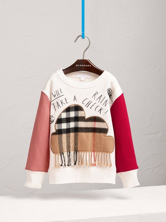 Weather Motif Cotton Sweatshirt in New Classic Check - Girl | Burberry - cell image 2