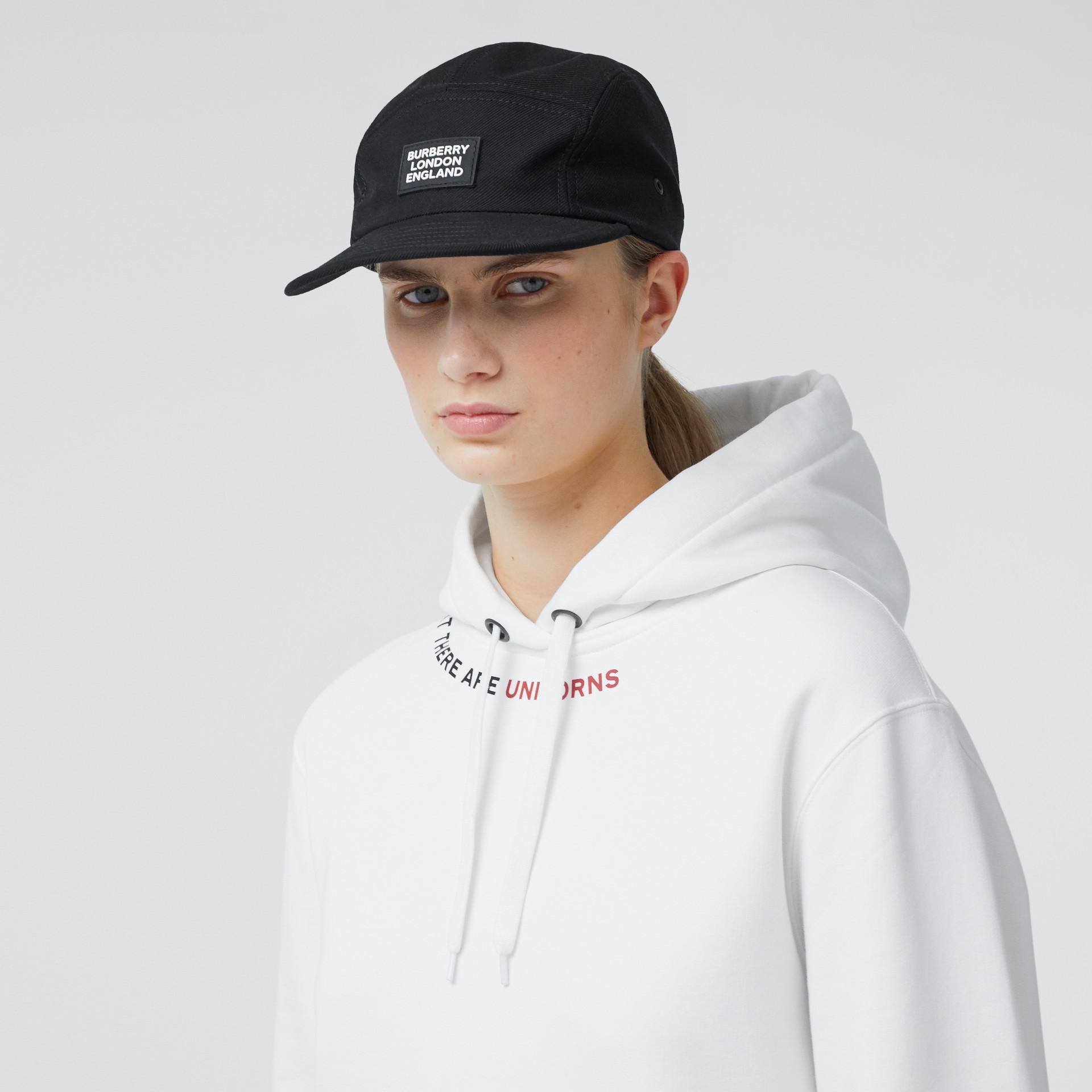 Logo Appliqué Cotton Twill Cap in Black | Burberry United States - gallery image 2
