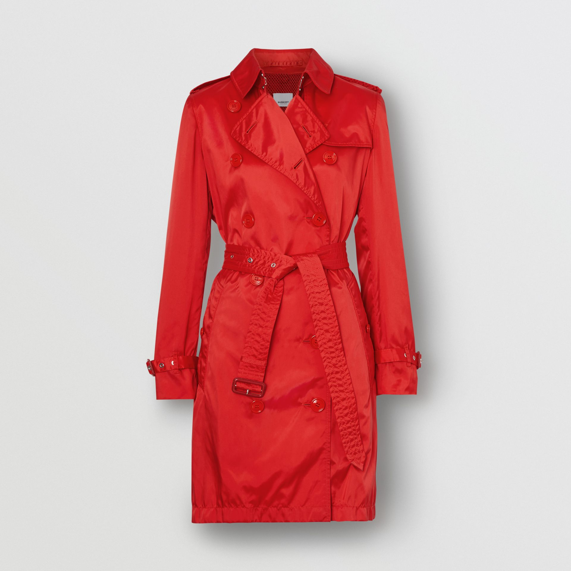 Detachable Hood ECONYL® Trench Coat in Bright Red - Women | Burberry - gallery image 3