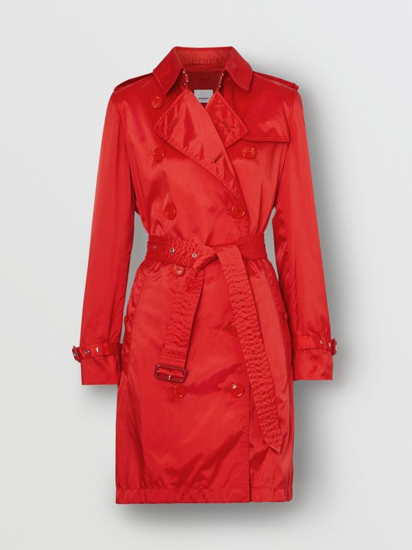Detachable Hood ECONYL® Trench Coat in Bright Red - Women | Burberry - cell image 3