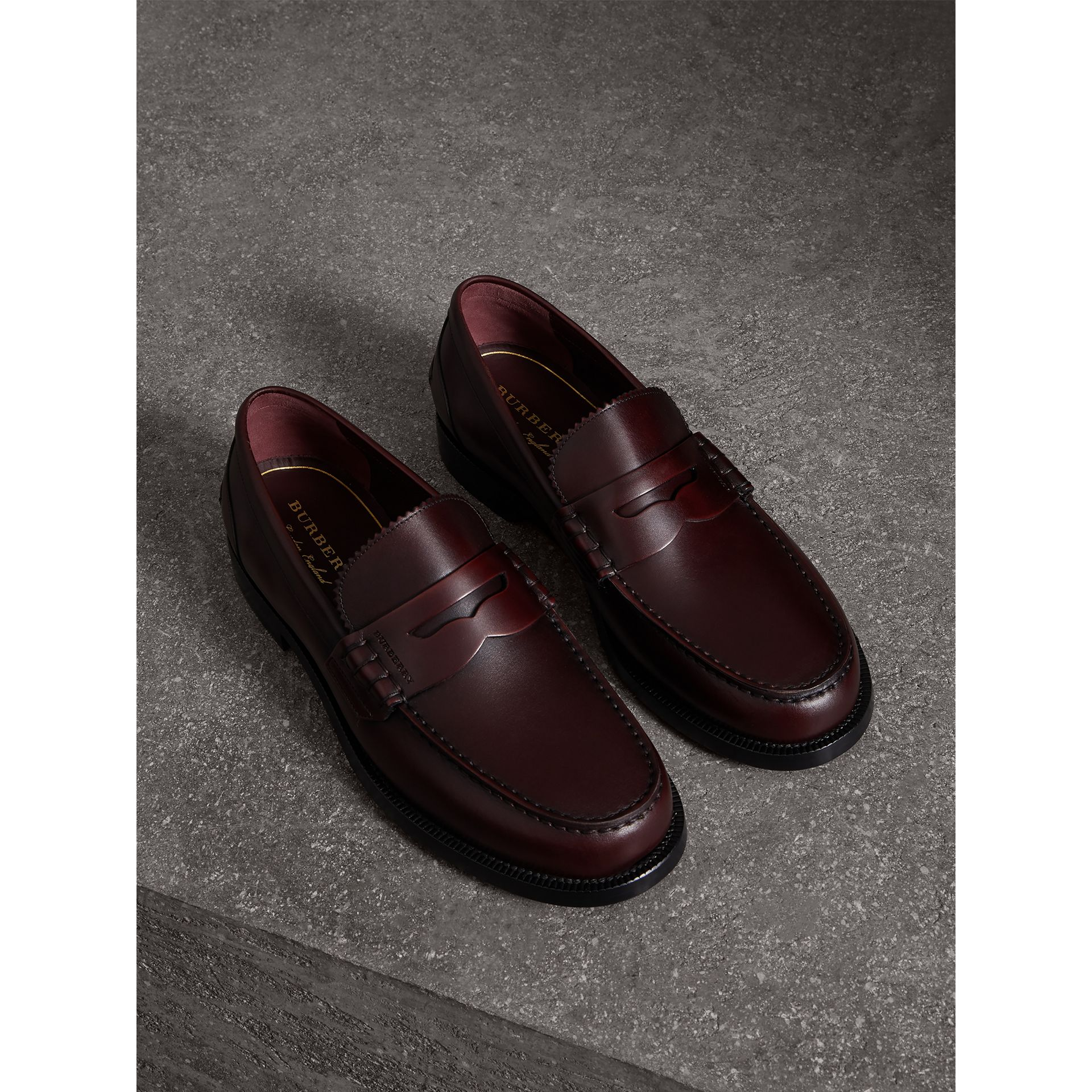 Leather Penny Loafers in Bordeaux - Men | Burberry Singapore - gallery image 0