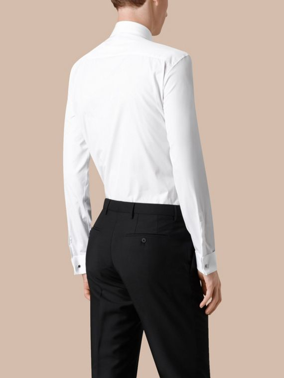 White Modern Fit Double-cuff Cotton Poplin Shirt - cell image 2