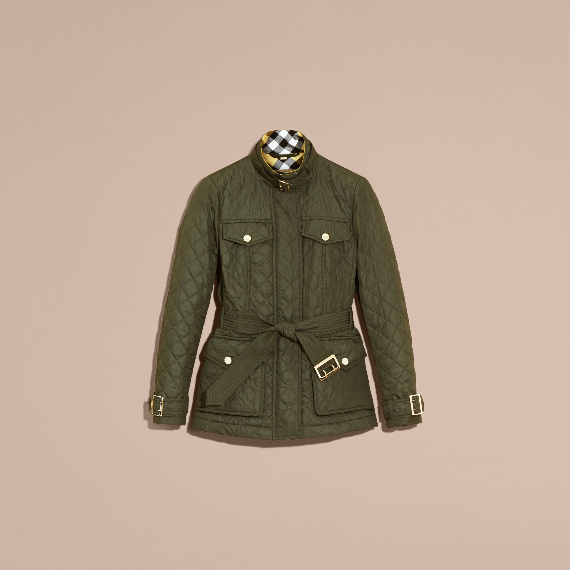 Buckle Detail Technical Field Jacket in Military Green - gallery image 4