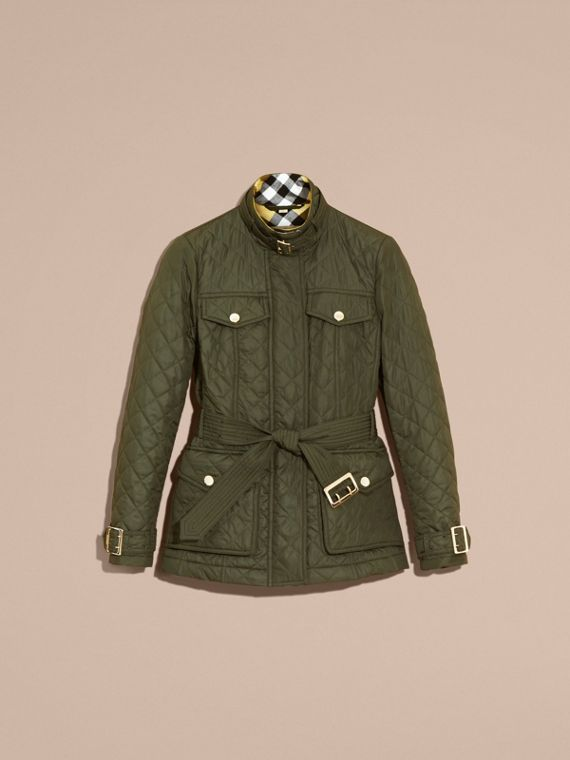 Buckle Detail Technical Field Jacket in Military Green - cell image 3