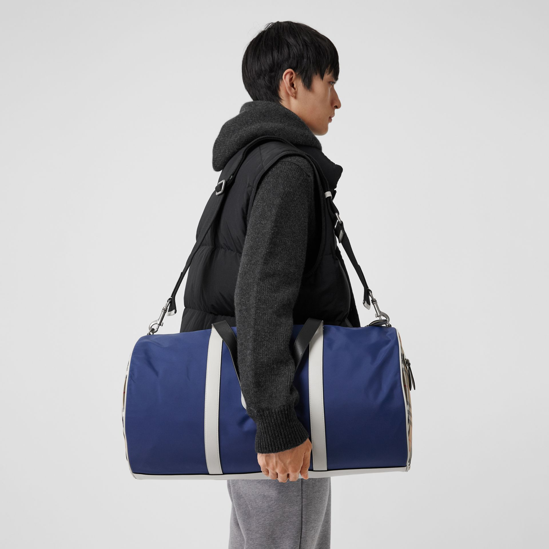 Large Colour Block Vintage Check Barrel Bag in Dark Canvas Blue - Men | Burberry - gallery image 3