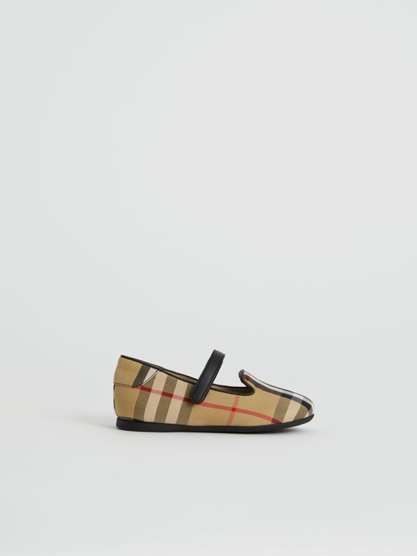 D-ring Strap Vintage Check Slippers in Antique Yellow - Children | Burberry United States - cell image 3